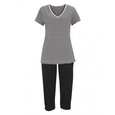Große Größen: H.I.S Capri-Pyjama mit geringeltem T-Shirt und legerer Hose, schwarz, Gr.40/42-56/58