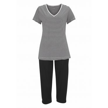 Große Größen: Capri-Pyjama, schwarz, Gr.40/42-56/58