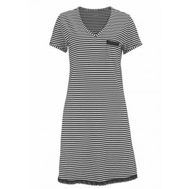 Große Größen: H.I.S Geringeltes Nachthemd mit Spitzendetails, schwarz, Gr.40/42-56/58