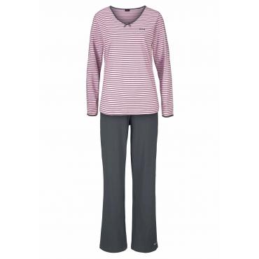 Große Größen: Pyjama, hellpink+anthrazit, Gr.40/42-56/58