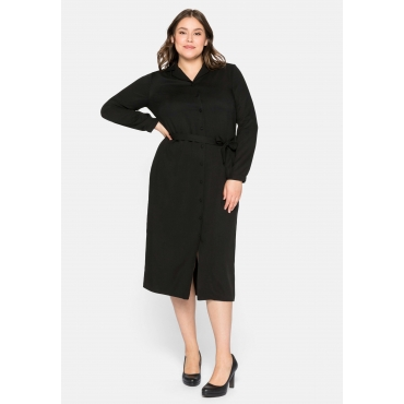Hemdblusenkleid mit Reverskragen und Knopfleiste, schwarz, Gr.44-58
