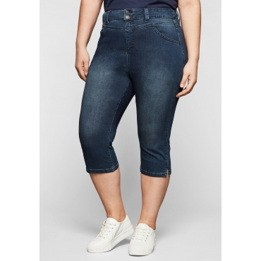 High-Waist Capri-Jeans in Power-Stretch-Qualität, dark blue Denim, Gr.44-58
