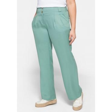 Hose gerade mit hohem Bund und Bundfalten, seegrün, Gr.44-58