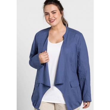 Jacke aus Leinen-Mix in offener Zipfelform, rauchblau, Gr.44-58