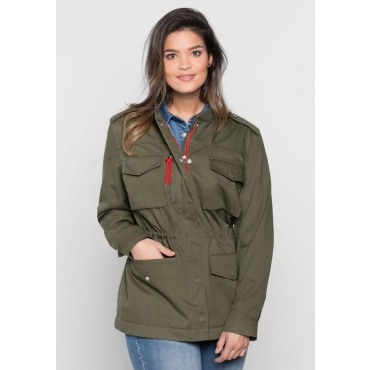 Große Größen: Jacke im Military-Stil, khaki, Gr.40-58