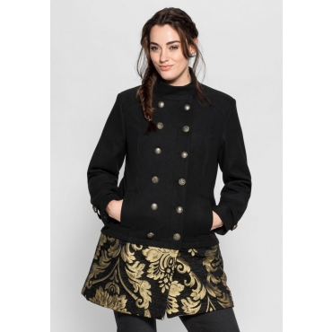 Große Größen: Jacke in 2-in-1-Optik, schwarz-goldfarben, Gr.40-58