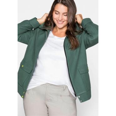Jacke mit breitem Kragen und Kontrastdetails, opalgrün, Gr.44-58