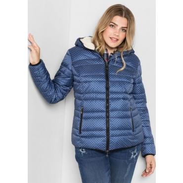 Große Größen: Jacke mit fester Kapuze, rauchblau, Gr.40-58