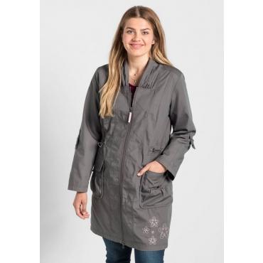Große Größen: Jacke mit gerafftem Kragen, dunkelgrau, Gr.40-58