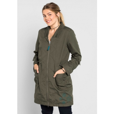 Große Größen: Jacke mit gerafftem Kragen, dunkelkhaki, Gr.40-58