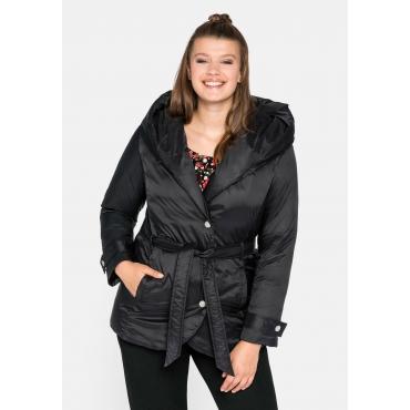 Jacke mit Kapuze, Druckknöpfen und Bindegürtel, schwarz, Gr.44-58