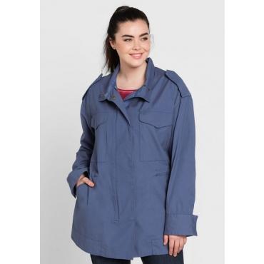 Große Größen: Jacke mit Stickerei hinten, rauchblau, Gr.44-58
