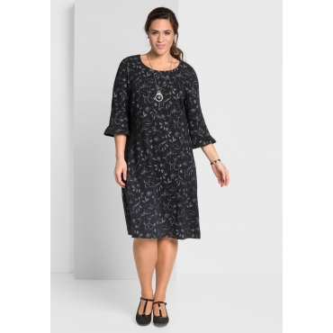 Große Größen: Jacquard-Kleid allover gemustert, schwarz gemustert, Gr.44-58