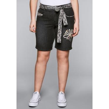 Große Größen: Jeans-Bermudas mit Aufschlag und Bindegürtel, black used Denim, Gr.44-58