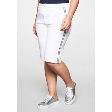 Jeans-Bermudas mit dekorativer Stickerei seitlich, white Denim, Gr.44-58