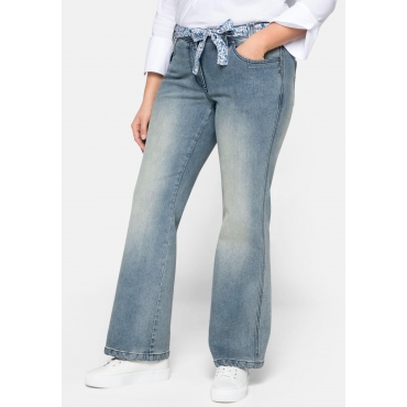 Jeans Bootcut mit Bindegürtel, im Used-Look, light blue Denim, Gr.44-58