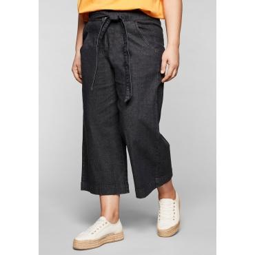 Jeans-Culotte mit High-Waist-Bund und Bindegürtel, black Denim, Gr.44-58