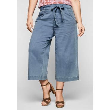Jeans-Culotte mit High-Waist-Bund und Bindegürtel, light blue Denim, Gr.44-58