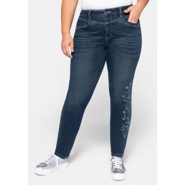 Jeans in schmaler Form, mit floralem Laserprint, dark blue Denim, Gr.44-58