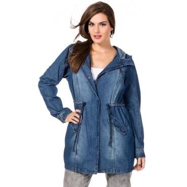 Große Größen: Jeans-Parka mit Kapuze, blue Denim, Gr.40-58