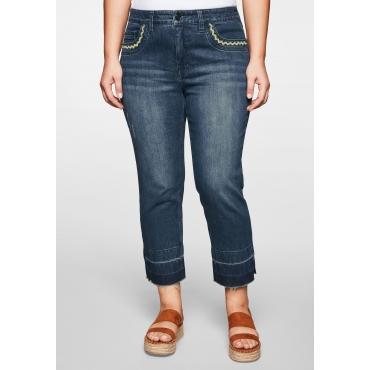 Jeans schmal in 7/8-Länge mit Fransensaum, blue Denim, Gr.44-58