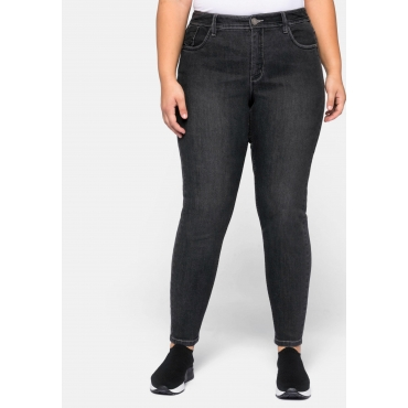 Jeans Skinny in 5-Pocket-Form mit Kontrastnähten, black Denim, Gr.44-58