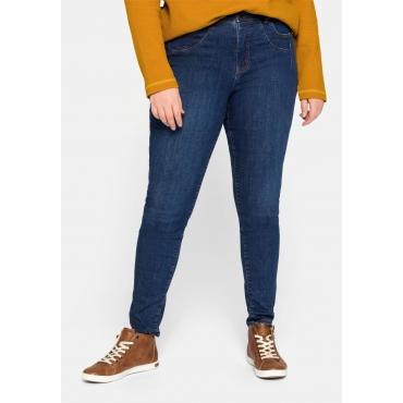 Jeans Skinny mit Kontrastnähten, 5-Pocket, nachhaltig, blue Denim, Gr.44-58