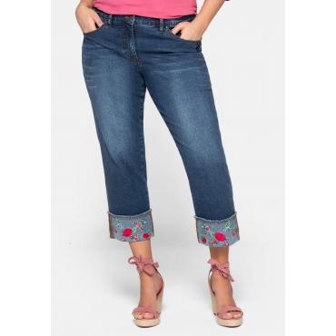 Jeans Slim mit breitem Aufschlag und Blütenstickerei, dark blue Denim, Gr.44-58