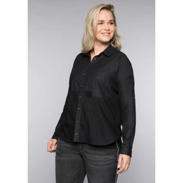 Große Größen: Jeansbluse im Colorblocking, black Denim, Gr.44-58