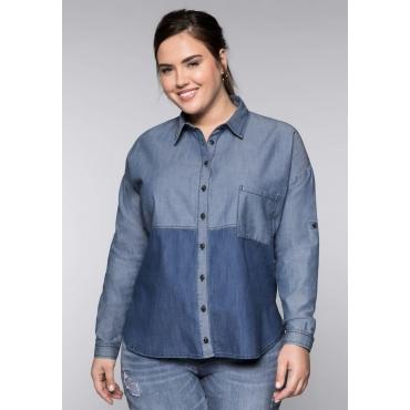 Große Größen: Jeansbluse im Colorblocking, blue Denim, Gr.44-58