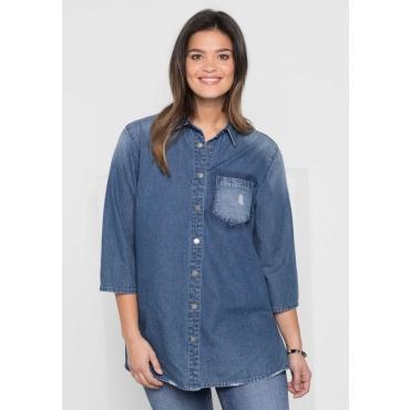 Große Größen: Jeansbluse mit 3/4-Ärmeln, blue Denim, Gr.40-58