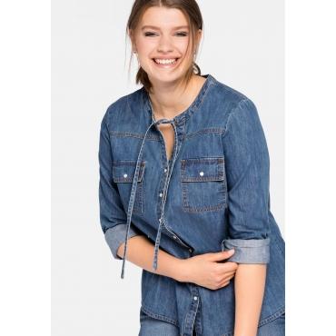 Jeansbluse mit Bindeband am Ausschnitt, blue Denim, Gr.44-58