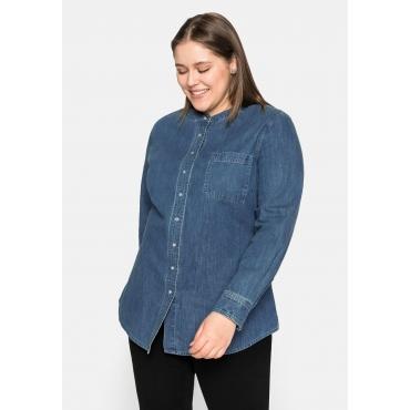 Jeansbluse mit Druckknöpfen und Brusttasche, blue Denim, Gr.44-58