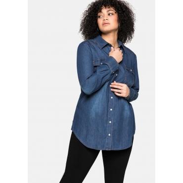 Jeansbluse mit Knopfleiste und Brusttaschen, blue Denim, Gr.40-58