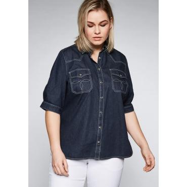 Große Größen: Jeansbluse mit Kontrastnähten und Pattentaschen, dark blue Denim, Gr.44-58