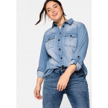 Jeansbluse mit Pattentaschen, in leichter Qualität, light blue Denim, Gr.44-58