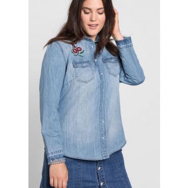 Große Größen: Jeansbluse mit Stickerei, light blue Denim, Gr.40-52