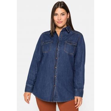 Jeanshemd mit Druckknöpfen und Kellerfalte hinten, blue Denim, Gr.44-58