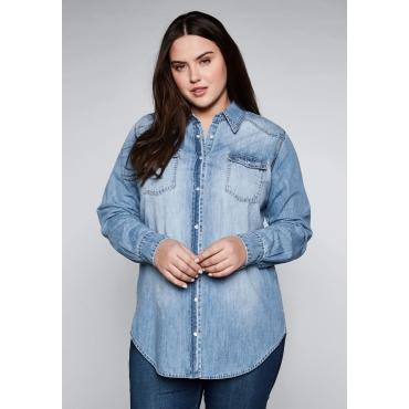 Große Größen: Jeanshemd mit durchgehender Knopfleiste, light blue Denim, Gr.44-58