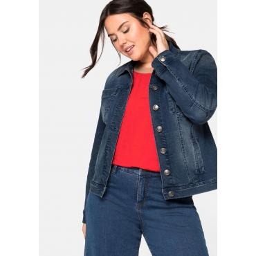Jeansjacke in leicht taillierter und verkürzter Form, blue Denim, Gr.44-58