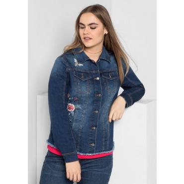 Große Größen: Jeansjacke mit Stickerei, blue Denim, Gr.40-58