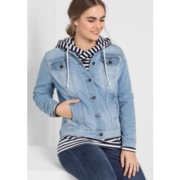 Jeansjacke mit zwei Brusttaschen, blue bleached Denim, Gr.40-58