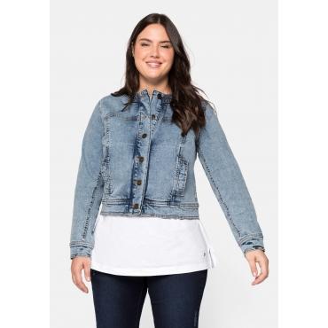 Jeansjacke ohne Kragen, im Moonwashed-Look, blue bleached Denim, Gr.44-58