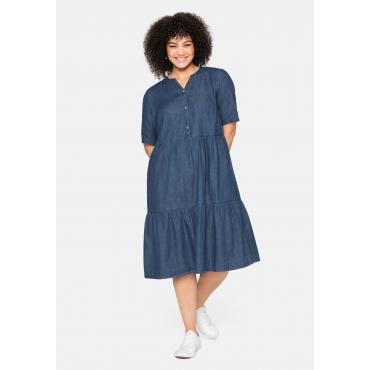 Jeanskleid aus leichtem Denim, in Volant-Optik, blue Denim, Gr.40-58
