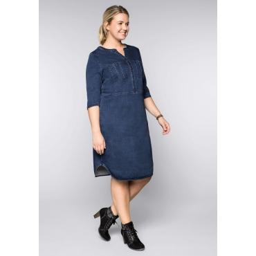 Große Größen: Jeanskleid in Sweatqualität mit Rundhalsausschnitt, blue Denim, Gr.44-58