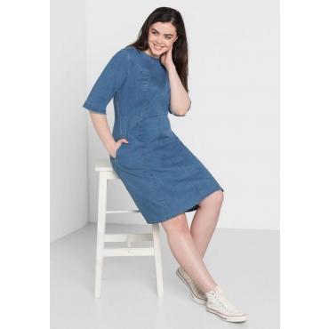 Große Größen: Jeanskleid mit 3/4-Ärmeln, light blue Denim, Gr.44-58