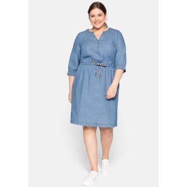 Jeanskleid mit 3/4-Ärmeln, Taschen und Bindeband, light blue Denim, Gr.44-58