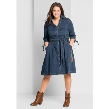 Große Größen: Jeanskleid mit durchgehender Knopfleiste, dark blue Denim, Gr.44-58
