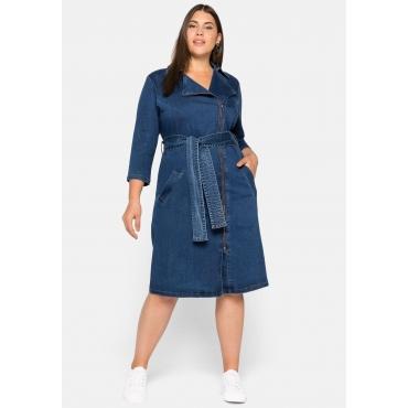 Jeanskleid mit Gürtel, Zipper und Reverskragen, blue Denim, Gr.44-58