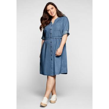Jeanskleid mit Knopfleiste und hoher Taille, light blue Denim, Gr.44-58